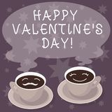 Text sign showing Happy Valentine S Is Day. Conceptual photo when lovers express their affection with greetings Sets of. Cup Saucer for His and Hers Coffee Face stock illustration