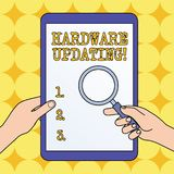 Text sign showing Hardware Updating. Conceptual photo process of replacing a product with a newer version Hands Holding. Text sign showing Hardware Updating stock illustration