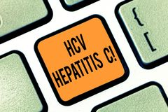Text sign showing Hcv Hepatitis C. Conceptual photo Liver disease caused by a virus severe chronic illness Keyboard key. Intention to create computer message royalty free stock image