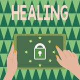 Text sign showing Healing. Conceptual photo process of making or becoming sound or healthy again Helping injured royalty free stock photos