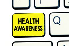 Text sign showing Health Awareness. Conceptual photo Promoting community issues and preventative action stock images
