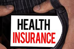 Text sign showing Health Insurance. Conceptual photo Health insurance information coverage healthcare provider written on Mobile S. Text sign showing Health royalty free stock photos