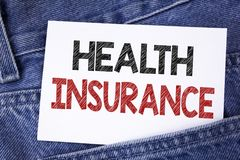 Text sign showing Health Insurance. Conceptual photo Health insurance information coverage healthcare provider written on Sticky N. Text sign showing Health stock images