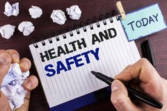 Text sign showing Health And Safety. Conceptual photo being in good condition harmless Workouts Healthy food written by Man on Not. Text sign showing Health And Royalty Free Stock Image