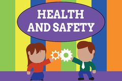 Text sign showing Health And Safety. Conceptual photo procedures intended to prevent accident in workplace Standing. Text sign showing Health And Safety vector illustration
