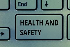 Text sign showing Health And Safety. Conceptual photo Taking the appropriate steps to protect yourself from harm.  royalty free stock image