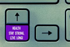 Text sign showing Health Stay Strong Live Long. Conceptual photo Have a healthy life selfcare prevention Keyboard key stock photos