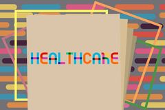 Text sign showing Healthcare. Conceptual photo The provision of medical care to individuals Improve wellbeing.  royalty free stock photo