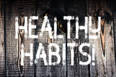Text sign showing Healthy Habits. Conceptual photo Good nutrition diet take care of oneself Weight Control Wooden. Text sign showing Healthy Habits. Business stock photo