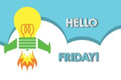 Text sign showing Hello Friday. Conceptual photo you say this for wishing and hoping another good lovely week Top view