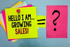 Text sign showing Hello I Am... Growing Sales. Conceptual photo Making more money Selling larger quantities Bright colorful sticky. Notes with text pin together royalty free stock photo