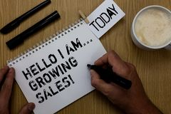 Text sign showing Hello I Am... Growing Sales. Conceptual photo Making more money Selling larger quantities Paperclip retain writt. En notepad hand hold marker royalty free stock image