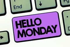 Text sign showing Hello Monday. Conceptual photo Greeting Positive Message for a new day Week Starting.  royalty free stock photo