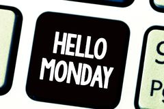Text sign showing Hello Monday. Conceptual photo Greeting Positive Message for a new day Week Starting.  stock image