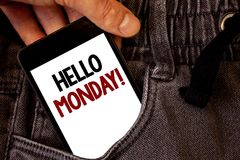 Text sign showing Hello Monday Motivational Call. Conceptual photo Positive Message for a new day Week Start Text two words on whi. Te screen black Phone Hand stock images