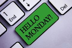 Text sign showing Hello Monday Motivational Call. Conceptual photo Positive Message for a new day Week Start Text two words green. Insert button key press grey stock images