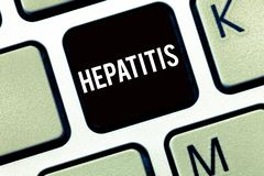 Text sign showing Hepatitis. Conceptual photo A disease described by inflammation of the liver Viral infection.  royalty free stock photography