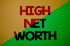 Text sign showing High Net Worth. Conceptual photo having high-value Something expensive A-class company Yellow green split backgr. Ound message thoughts Royalty Free Stock Photography