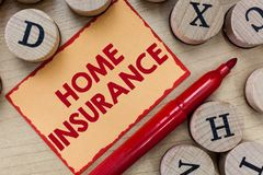Text sign showing Home Insurance. Conceptual photo Covers looses and damages and on accidents in the house.  stock images