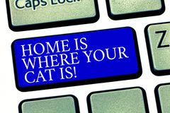 Text sign showing Home Is Where Your Cat Is. Conceptual photo Kitten lovers feline protection cute animals Keyboard key. Intention to create computer message royalty free stock photos
