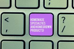 Text sign showing Homemade Specialties And Homegrown Products. Conceptual photo Healthy fresh special dishes Keyboard. Key Intention to create computer message stock photos