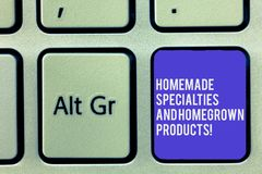 Text sign showing Homemade Specialties And Homegrown Products. Conceptual photo Healthy fresh special dishes Keyboard. Key Intention to create computer message royalty free stock photography
