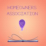 Text sign showing Homeowners Association. Conceptual photo Organization with fee for upkeeps of Gated Community.  stock illustration