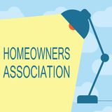 Text sign showing Homeowners Association. Conceptual photo Organization with fee for upkeeps of Gated Community.  vector illustration