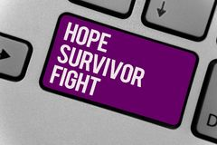 Text sign showing Hope Survivor Fight. Conceptual photo stand against your illness be fighter stick to dreams Keyboard key office. Typing class work click stock image