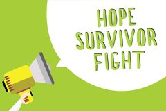 Text sign showing Hope Survivor Fight. Conceptual photo stand against your illness be fighter stick to dreams Multiline text messa. Ge idea convey report sound Royalty Free Stock Images