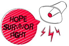 Text sign showing Hope Survivor Fight. Conceptual photo stand against your illness be fighter stick to dreams Sketch artwork loud. Sound speaker alarm awareness Stock Photos