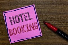 Text sign showing Hotel Booking. Conceptual photo Online Reservations Presidential Suite De Luxe Hospitality Purple. Paper Important reminder Communicate ideas stock photos