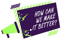 Text sign showing How Can We Make It Better question. Conceptual photo asking how increase quality of product Megaphone loudspeake. R green striped frame Stock Photography