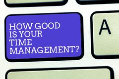Text sign showing How Good Is Your Time Managementquestion. Conceptual photo Managing deadlines timing Keyboard key. Intention to create computer message royalty free stock image