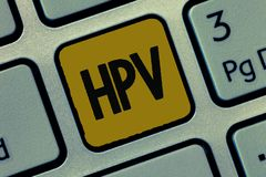 Text sign showing Hpv. Conceptual photo Group of viruses that affect your skin and the moist membranes.  stock photography