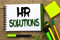 Text sign showing Hr Solutions. Conceptual photo Recruitment Solution Consulting Management Solving Onboarding written on Notebook. Text sign showing Hr royalty free stock image