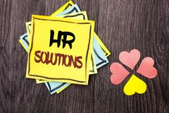 Text sign showing Hr Solutions. Conceptual photo Recruitment Solution Consulting Management Solving Onboarding written on Stacked. Text sign showing Hr Solutions Royalty Free Stock Image