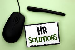 Text sign showing Hr Solutions. Conceptual photo Recruitment Solution Consulting Management Solving Onboarding written on Sticky N. Text sign showing Hr Stock Photos