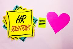 Text sign showing Hr Solutions. Conceptual photo Recruitment Solution Consulting Management Solving Onboarding written on Yellow S. Text sign showing Hr Stock Photography