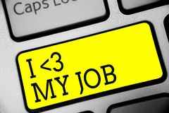 Text sign showing I love My Job. Conceptual photo telling someone that you admire your current profession Keyboard yellow key Inte royalty free illustration