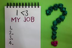 Text sign showing I love My Job. Conceptual photo telling someone that you admire your current profession Open notebook crumpled p. Apers forming question mark stock photos