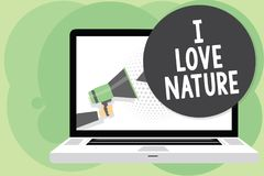 Text sign showing I Love Nature. Conceptual photo Enjoy the natural environment Preservation Protect ecosystem Man holding Megapho. Ne loudspeaker computer royalty free illustration