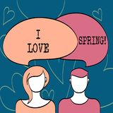 Text sign showing I Love Spring. Conceptual photo Affection for season of year where there are lot of flowers. Text sign showing I Love Spring. Conceptual photo royalty free illustration