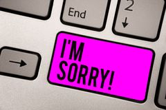 Text sign showing I am Sorry. Conceptual photo To ask for forgiveness to someone you unintensionaly hurt Keyboard purple key Inten stock images
