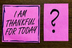 Text sign showing I Am Thankful For Today. Conceptual photo Grateful about living one more day Philosophy Violet color black lined. Sticky note with letters royalty free stock photography