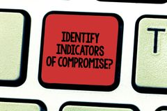Text sign showing Identify Indicators Of Compromise. Conceptual photo Detect malware online attacks hacking Keyboard key. Intention to create computer message stock photo
