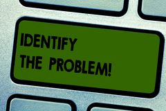 Text sign showing Identify The Problem. Conceptual photo diagnosing the situation and focus on the real problem Keyboard. Key Intention to create computer stock photos