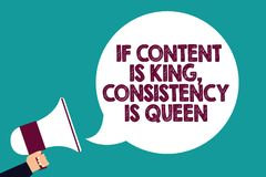 Text sign showing If Content Is King, Consistency Is Queen. Conceptual photo Marketing strategies Persuasion Man holding megaphone. Loudspeaker speech bubble vector illustration