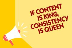 Text sign showing If Content Is King, Consistency Is Queen. Conceptual photo Marketing strategies Persuasion Megaphone loudspeaker. Yellow background important stock illustration