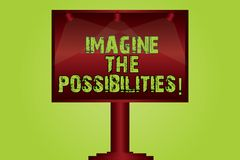 Text sign showing Imagine The Possibilities. Conceptual photo sense that something is able to happen soon Blank Lamp Lighted Color. Signage Outdoor Ads photo vector illustration